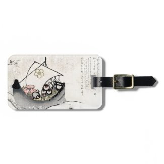 Cool japanese vintage ukiyo-e myth legend boat art tag for bags
