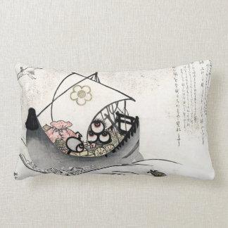 Cool japanese vintage ukiyo-e myth legend boat art pillow