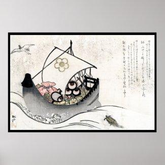 Cool japanese vintage ukiyo-e myth legend boat art poster