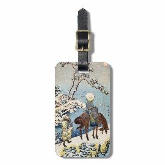 Cool japanese vintage ukiyo-e raider winter scene bag tag