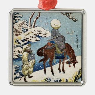 Cool japanese vintage ukiyo-e raider winter scene christmas ornaments