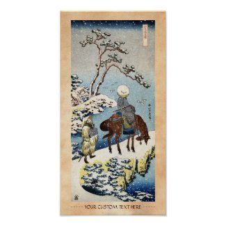 Cool japanese vintage ukiyo-e raider winter scene print