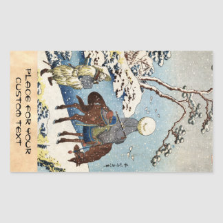 Cool japanese vintage ukiyo-e raider winter scene rectangular sticker