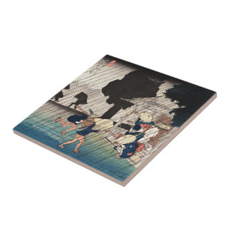 Cool japanese vintage ukiyo-e rainy day scene ceramic tile