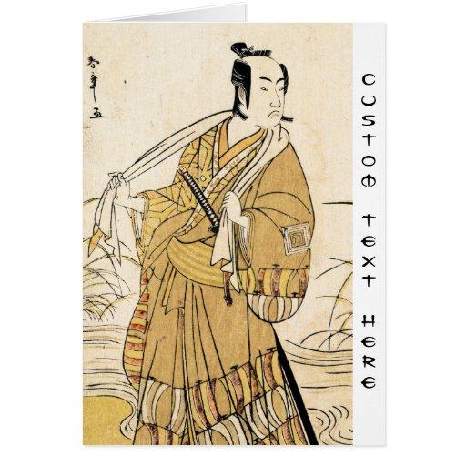 Cool japanese vintage ukiyo-e samurai tattoo art greeting card