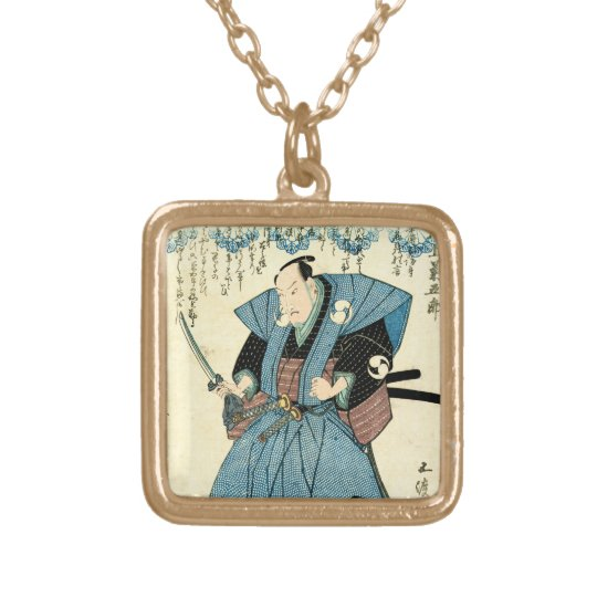 Cool japanese vintage ukiyo-e samurai warrior gold plated necklace
