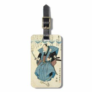 Cool japanese vintage ukiyo-e samurai warrior luggage tag