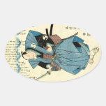 Cool japanese vintage ukiyo-e samurai warrior oval sticker