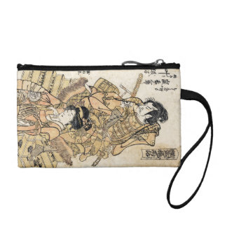 Cool japanese vintage ukiyo-e samuraj warrior art change purse
