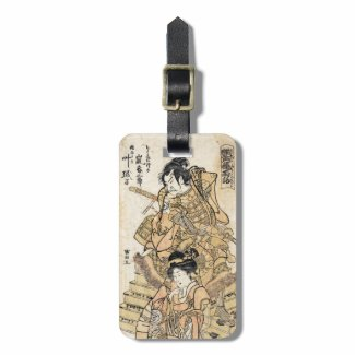 Cool japanese vintage ukiyo-e samuraj warrior art travel bag tags