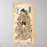 Cool japanese vintage ukiyo-e samuraj warrior art poster