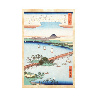 Cool japanese vintage ukiyo-e scenery waterscape stretched canvas print