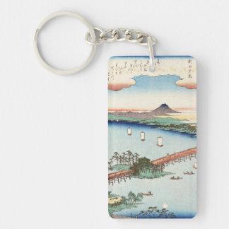 Cool japanese vintage ukiyo-e scenery waterscape keychain