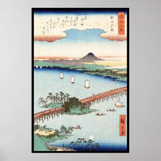 Cool japanese vintage ukiyo-e scenery waterscape poster