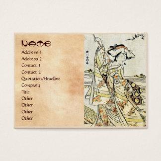 Cool japanese vintage ukiyo-e scroll geisha business card
