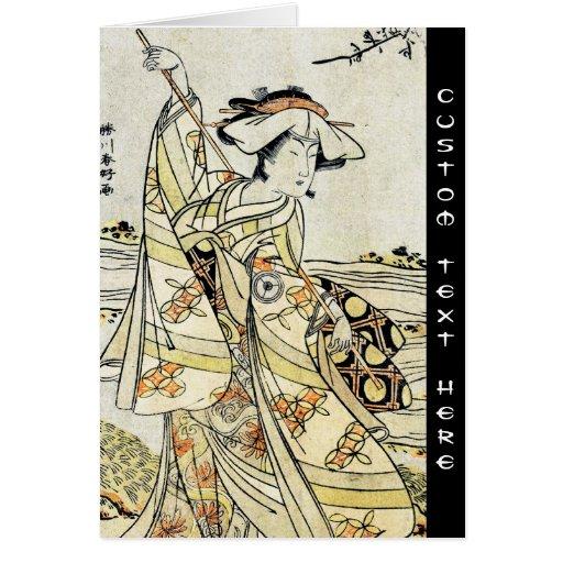 Cool japanese vintage ukiyo-e scroll geisha greeting cards
