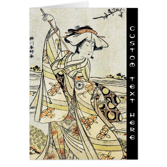 Cool japanese vintage ukiyo-e scroll geisha card