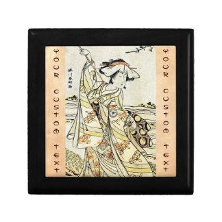 Cool japanese vintage ukiyo-e scroll geisha keepsake box