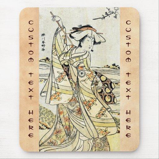 Cool japanese vintage ukiyo-e scroll geisha mouse pad