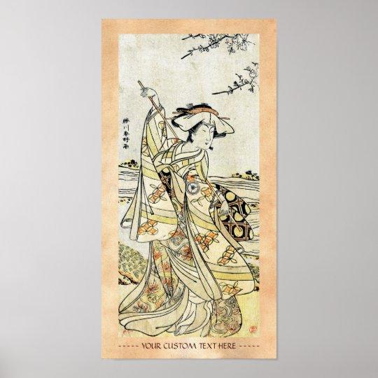 Cool japanese vintage ukiyo-e scroll geisha poster