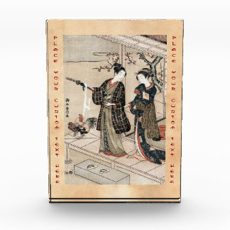 Cool japanese vintage ukiyo-e scroll two geisha award