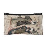 Cool japanese vintage ukiyo-e scroll two geisha cosmetic bags