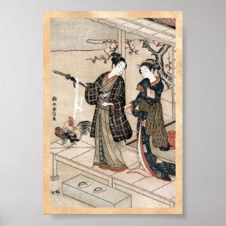 Cool japanese vintage ukiyo-e scroll two geisha poster