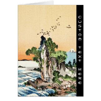 Cool japanese vintage ukiyo-e sea rock village art card