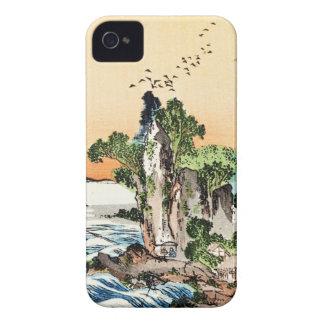 Cool japanese vintage ukiyo-e sea rock village art iPhone 4 case