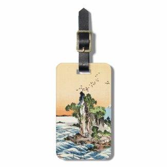 Cool japanese vintage ukiyo-e sea rock village art tags for bags