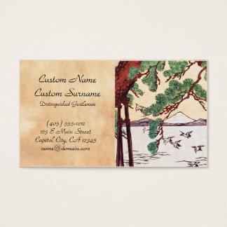 Cool japanese vintage ukiyo-e sea tree birds scene business card
