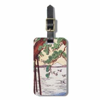 Cool japanese vintage ukiyo-e sea tree birds scene tags for luggage