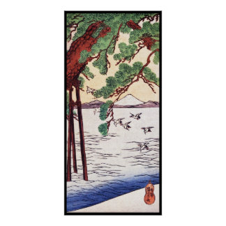 Cool japanese vintage ukiyo-e sea tree birds scene poster