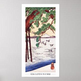 Cool japanese vintage ukiyo-e sea tree birds scene print