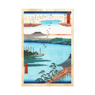 Cool japanese vintage ukiyo-e sea waterscape scene gallery wrapped canvas