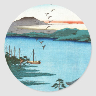 Cool japanese vintage ukiyo-e sea waterscape scene classic round sticker