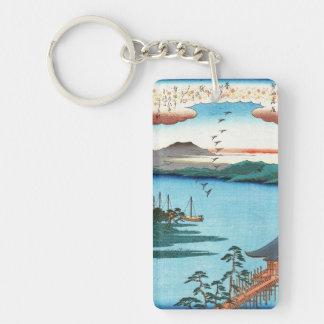 Cool japanese vintage ukiyo-e sea waterscape scene keychain