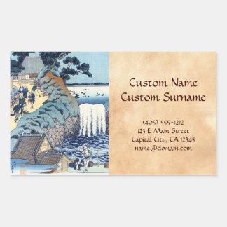 Cool japanese vintage ukiyo-e seaside landscape rectangular sticker
