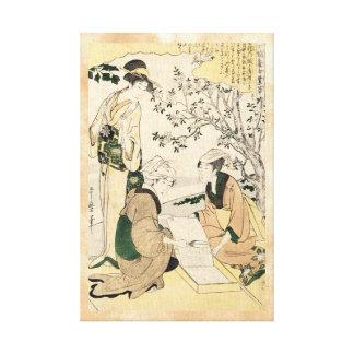 Cool japanese vintage ukiyo-e three ladies geisha canvas print
