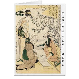 Cool japanese vintage ukiyo-e three ladies geisha card