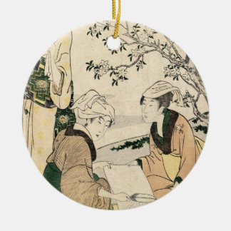 Cool japanese vintage ukiyo-e three ladies geisha ceramic ornament