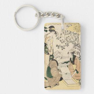 Cool japanese vintage ukiyo-e three ladies geisha keychain