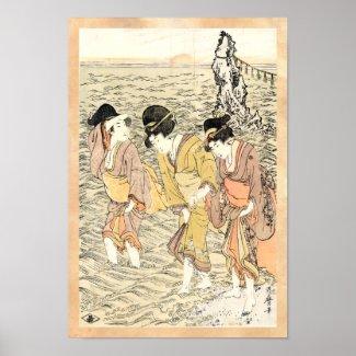 Cool japanese vintage ukiyo-e three woman sea poster