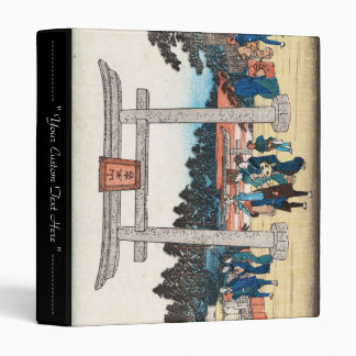 Cool japanese vintage ukiyo-e tori gate village 3 ring binder