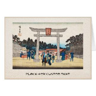Cool japanese vintage ukiyo-e tori gate village card