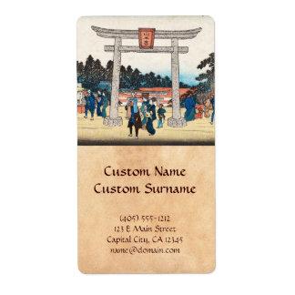 Cool japanese vintage ukiyo-e tori gate village label