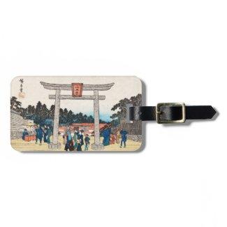 Cool japanese vintage ukiyo-e tori gate village tags for bags