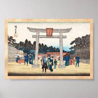 Cool japanese vintage ukiyo-e tori gate village posters