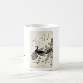 Cool japanese vintage ukiyo-e trio birds ink art coffee mug