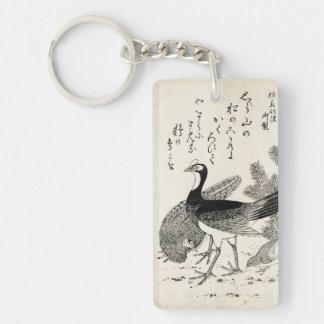 Cool japanese vintage ukiyo-e trio birds ink art keychain